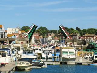Raised draw bridge in Weymouth, Dorset