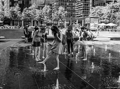 Three Toes in the Fountain ©2018 Steven Karp (kartofish) Tags: candid street fountain cityhall philadelphia pennsylvania monochrome blackandwhite fuji fujifilm x100 x100s playinginwater