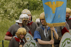 Romans (Crisp-13) Tags: clash romans roman old sarum salisbury wiltshire castle soldier helmet armour spqr banner