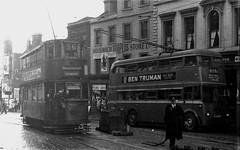 London transport E3 tram 1989 on route 36 Woolwich 1951. (Ledlon89) Tags: trams tram tramway londontrams london transport lt lte londontransport woolwich newcross southlondon selondon southeastlondon electrictransport 1951 1950s elb807 londontrolleybus