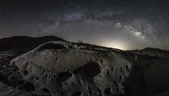 They Climbed Aboard Their Starship And Headed For The Skies (slworking2) Tags: borregosprings california unitedstates us anzaborrego desert night milkyway panorama nighttime geology sandstone caves windcaves splitmountain