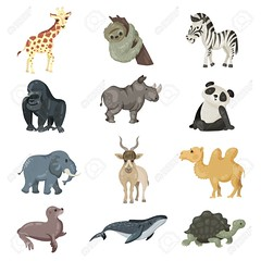 big animals set (jacob_proper1) Tags: set collection animals zoo naturereserve wildlife nature cartoon cute illustration isolated mammal sloth zebra gorilla rhino panda elephant addaxantelope camel sealion humpbackwhale turtle design art print picture shirt silhouette wildanimals greenpeace creature graphic predator