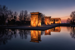 Reflejos en el Tempo de Debod (Madrid)... (protsalke) Tags: reflections colors lights sky debod temple madrid templos architecture arquitectura cityscape sunset calm beautiful atardecer nikon peace urban city d700