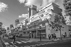 Brunswick Shopping Centre (Photator) Tags: brutalist brutalism brutalistarchitecture buildings london bloomsbury brunswickshoppingcentre city greyscale grayscale blackandwhite noiretblanche angles geometry uk england street