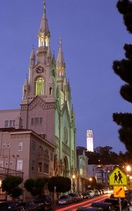 San Francisco – St. Peter & Paul & Coit Tower At Dusk (David Paul Ohmer) Tags: san francisco california north beach washington square park st peter and paul coit tower evening