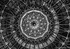 Cupola at the Leipzig Panometer, Germany (Kerstin Winters Photography) Tags: panometerleipzig geometrie geometry lines architecture architektur deutschland germany leipzig fotografie photography nikkor nikondigital nikondsl flickr gebäude abstrakt abstract ceiling cupola building structure structural texture detail bw schwarzweis blackandwhite black