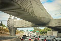 saturday slowdown (Karol Franks) Tags: freeway socal traffic goingnowhere roadtrip california cars vehicles travel bridgewasdesignedbytheartist andrewleicester goldline overpass bridge art