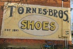 Tornes Bros. Shoes, Marietta, OH (Robby Virus) Tags: marietta ohio oh bros brothers shoes painted sign signage ad advertisment ghost tornes low prices repairing