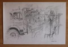 BOS 1986 drawing. Bob Smith & Policeman IMG_1673 b (david.neville2776) Tags: burnhamonsea somerset lorry policeman buildings pencil drawing