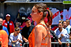Carnaval Parade SF 146a (TheseusPhoto) Tags: colorsoftheworld colors costume people candids candid streetphotography street pretty girl woman festival carnaval latino sanfrancisco california culture ponytail