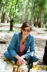 Maya on her birthday (michalshanny) Tags: nikkormatftn 50mm film analog friends portrait vertical women woods picnic spring hayarkonpark