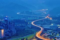 Light curve (archkoven13) Tags: 橋 夜景 雲霧 山 風景 台灣 宜蘭 光軌