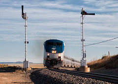 The 706's (Wheelnrail) Tags: new mexico semaphores blades amtrak amtk p42dc southwest chief train trains railroad railway rail road raton subdivision nm passenger locomotive grass mountain sky car rock