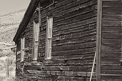 Side of House with Three Windows at Bodie Ghost Town in B&W (eoscatchlight) Tags: bodieghosttown easterncalifornia california ghosttown abandoned topaz