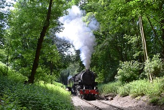 Dwarfed by the surrounding trees, USA Built S160 Class 2-8-0 Locomotive working hard up the gradient at Coopersale, through Epping Forest to North Weald. Epping Ongar Railway Steam Gala. 08 06 2018