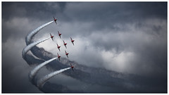 Formation Flying (picturedevon.co.uk) Tags: paignton torbayairshow 2018 englishriviera devon uk raf royalairforce redarrows displayteam smoke jet airplane speed fast sky clouds wwwpicturedevoncouk