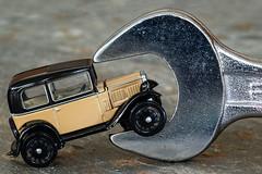 Hey, pick on someone your own size! (Macro Mondays - Hand Tool) (hehaden) Tags: spanner metal shiny slate car model oxford austin7 austinseven macro macromondays handtool diecast sel90m28g