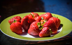 Red and Juicy (Jocey K) Tags: strawberries bankspeninsula newzealand nikond750 akaroa berries food plate