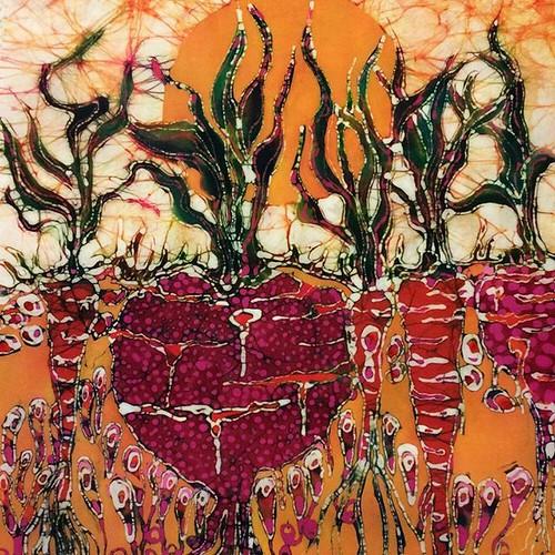 my #etsy shop: Garden - Filled With Sunlight - batik print from original https://etsy.me/2JwtCVr. #batik #garden #sun #art cards #beets #carrots #roots #amityfarmbatik