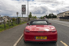 Red Muff Rear (syf22) Tags: car automobile auto autocar automotor motor motorcar motorised porsche boxster boxsters boxster981s porscheboxster porscheclubgb flat6 watercooled red guardsred ireland eire muff sign streetsign back tailgate tail ass arse rear