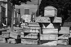 'A Case History' / by John King (Images George Rex) Tags: 3b7cbfff880a4a489480fc95e1d42bd5 liverpool merseyside uk acasehistory luggage cases concrete sculpture installation johnking mountstreet hopestreet publicart blackandwhite bw monochrome england photobygeorgerex unitedkingdom britain imagesgeorgerex metropolitancathedral lipa