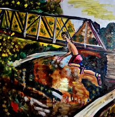 The Leap (The Big Jiggety) Tags: oil painting peinture huile toile tela lienzo oleo saut jump plunge dive summer canvas bridge water eau aqua agua wasser kunst art arte
