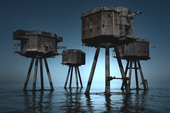 shivering sands (shutterbug_uk2012) Tags: uk coastal photography shivering sands forts towers rusting abandoned early morning light ehic 1407 halflight brooding eerie ethereal towering reflections kent boat colour blue water decaying structures nikon d850 filters 3