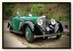1935 Bentley 3.5 Litre Drophead Coupe SY 5480 (BIKEPILOT, Thx for + 5,000,000 views) Tags: 1935 bentley 35 litre sy5480 dropheadcoupe rrec rollsroyceenthusiastsclub southofenglandrally classic icon vintage car automobile vehicle transport brooklandsmuseum weybridge surrey uk england britain green black photoshop photoshopped