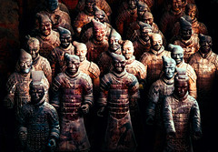 Terracotta Warriors (Bobinstow2010) Tags: china terracottawarriors stone men soldiers uncovered arty topaz photoshop