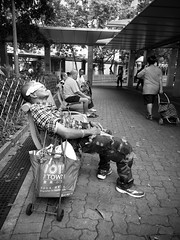 A Hot Day (Calvin Lee a.k.a calvin83) Tags: bw aged blackandwhite candid city day man old people rest sit sleeping street urban