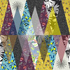 Abstract watercolor triangle and exotic leaves seamless pattern. (andreaeskin) Tags: palm fan leaf paint seamless frond watercolor pattern background exotic tropical tropic natural drawing illustration texture design color style art colorful graphic decoration summer nature season floral ornament flora garden paradise plant evergreen begonia doodle dot abstract grunge ink stripe wave monstera flower plumeria bloom blossom vacation white black