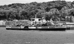 Scotland West Highlands Argyll the paddle steamer Waverley blowing her whistle as she leaves the island of Bute 26 May 2018 by Anne MacKay (Anne MacKay images of interest & wonder) Tags: scotland west highlands argyll paddle steamer waverley island bute rothesay pier monochrome blackandwhite xs1 26 may 2018 picture by anne mackay