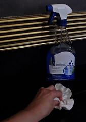 Doing Those Chores You've Put Off Far Too Long! (Jo Zimny Photos) Tags: flickrfriday rainydaysand chores thoseyouveputoff polish hearth ceramic tiles fireplace black gold windowcleaner hand arm cloth bottle liquid