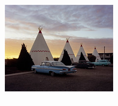 Blue Cadillac & Tipi, Arizona. (Komkrit.) Tags: komkrit thusanapanont dontdesertme large format arizona cadillac tipi tepee