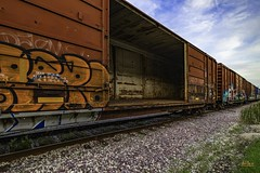 Trained Perspective (Photography By Michael Benjamin) Tags: train railroad perspective rusty boxcar leading lines door