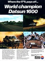 1970 Datsun 1600 Nissan  Aussie Original  Magazine Advertisement (Darren Marlow) Tags: 1 6 7 9 19 70 1970 d datsun 1600 s sedan r rally c car cool collectible collectors classic a automobile v vehicle j jap japan japanese asian 70s
