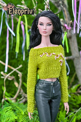 Hand-knitted green crop sweater with hand embroidery by ELENPRIV (elenpriv) Tags: handknitted green sweater hand embroidery elenpriv cropsweater pullover 16inch 16fashion fr16 shadesofgray hanne erickson fashionroyalty doll integrity toys jason wu dolls handmade clothes elena peredreeva