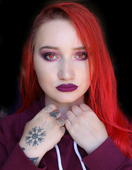 Red Eyed Demon (Silje Roos) Tags: photo photography photoshoot photos portrait picture photographys inspo pretty people pale photograph pink pastel redhair red hair redhead head tattoo handtattoo norrøn norsk norwegian norway norge long hand hands model girl hotgirl hot woman dope fresh