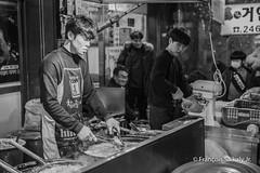 Gukje Market Vendor, Busan South Korea - 국제시장 상점 (Francois Saikaly Jr) Tags: southkorea korea busan market vendor street photogrpahy black white canon 5d mark3 food asia asian