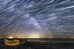 Come Sail Away At The Salton Sea (slworking2) Tags: bombaybeach saltonsea desert california startrails starstax lake boat vessel abandoned milkyway