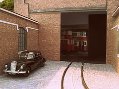 Top brass visit (kingsway john) Tags: london transport tram depot model layout diorama 176 scale oo gauge doorway e1 ucc feltham tower plastic kit