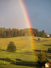 Abendstimmung (s.schulthess) Tags: rainbow regenbogen landschaft landscape sunset sonnenuntergang natur nature schweiz switzerland mountain berge wald forest