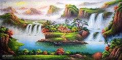 Panorama Guilin, Art Painting / Oil Painting For Sale - Arteet™ (arteetgallery) Tags: arteet oil paintings canvas art artwork fine arts waterfall river water rock stone landscape park cascade environment outdoor mountain creek travel flowing wild tree fall natural falls spring splash rocks flow motion waterfalls summer wet tourism peaceful scenery falling fresh outdoors ecology scenic moss leaf tranquil wilderness serene clean lake sunlight trees season stones national peace landscapes surreal fantasy lakes rivers lime brown paint