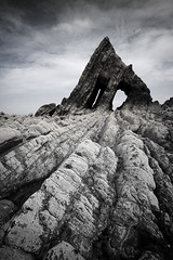 Black Church Rock (david.hogan7) Tags: fine art muted colour seascape shore rocks door barnacles low tide moody wide angle sigma 1020 canon 750d long exposure devon north black church rock coast uk england geology nd 1000 big stopper
