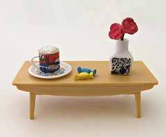 Moomin Nordic Cafe # 4 (MurderWithMirrors) Tags: rement miniature moomin nordic mwm table vase flowers mug cup plate candy