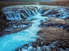 The blue waterfall - Bruarfoss - Iceland (joiseyshowaa) Tags: iceland water waterfall flowing golden circle tour hike dirt path wilderness nature wild rocks rapids nd filter blue glacier tourist travel bruar foss