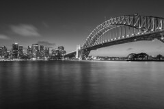 sydney b&w (Greg Rohan) Tags: nightphotography nightlights clouds harbour ocean sea water architecture buildings building skyscraper skyscrapers skyline cityscape city bridge monochrome blackwhite blackandwhite bw sydney australia d750 nikon nikkor 2018 sky night arch