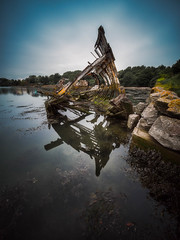 Hooe Hulks (Timothy Gilbert) Tags: wreck wideangle ultrawide lumix laowacompactdreamer75mmf20 longexposure devon plymouth hooelake m43 microfourthirds reflection microfournerds boat photowalk gx8 hooe panasonic