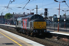 """Europhoenix Liveried Class 37/7, 37800 """"Cassiopeia"""" (37190 """"Dalzell"""") Tags: europhoenix greyred phoenixlogo rog railoperationsgroup ee englishelectric type3 growler tractor heavyweight class37 class377 37800 cassiopeia l025 l33 37143 d6843 northwestern wigan"""