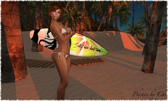 Corona Extra: From Where You'd Rather Be (Only Chi - Thank you to my followers) Tags: corona onlychi maitreya laq surfboard beach sand water sky firestorm secondlife secondlifephotography argrace